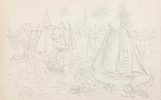 RAOUL DUFY (1877-1953) Les voiliers 13 3/16 x 20 7/8in. (33.5 x 53cm)