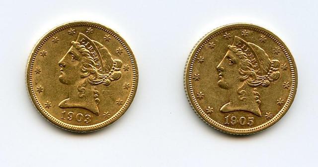 1903-S, 1905 $5
