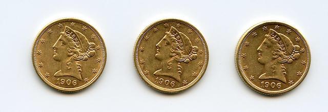 1906-D (2), 1906-S $5