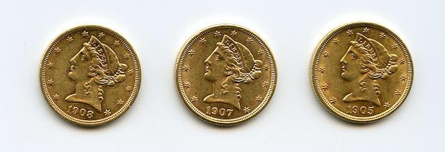 1905, 1907, 1908 Liberty $5