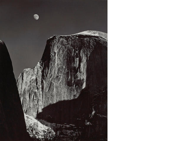 Ansel Adams (1902-1984); Moon and Half Dome, Yosemite National Park;