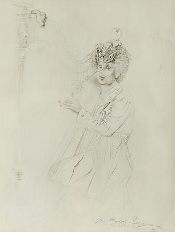 An inscribed reproduction portrait of Harpo Marx by Salvador Dalí