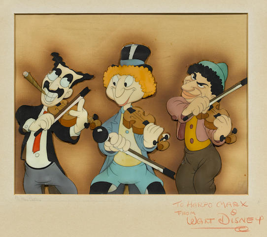 A Walt Disney Studios celluloid of The Marx Brothers from Mother Goose Goes Hollywood