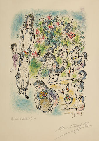 Marc Chagall (1887-1985); Then all poured libations from their brimming cups, pl. 9, from Land of the Gods;