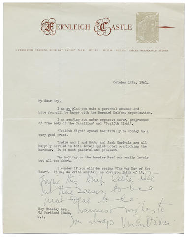 A typed letter signed by Vivien Leigh