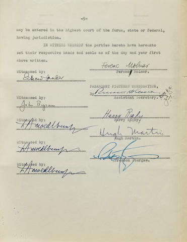 A Preston Sturges signed contract