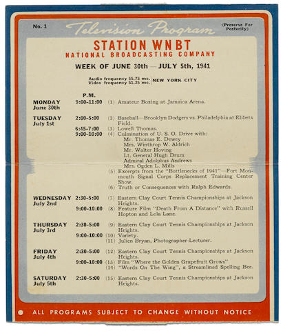 A television guide from the first week of programming in the United States