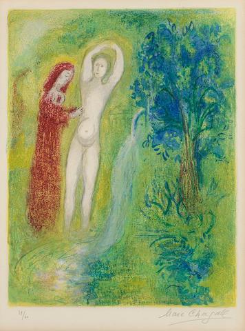 Marc Chagall (1887-1985); Daphnis et Chloé au bord de la fontaine, pl. 7,  from Daphnis et Chloé;