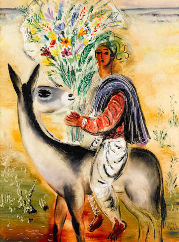 REUVEN RUBIN (1893-1974) Rider with a Bouquet 28 7/8 x 21 1/4in. (73.3 x 54cm) Painted in 1960-1961