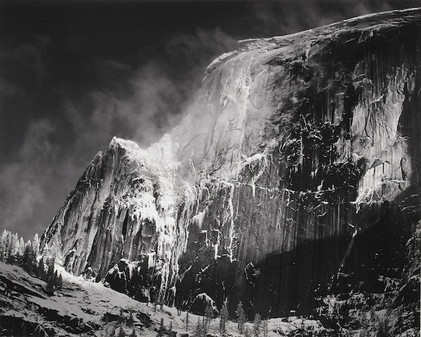 Ansel Adams (1902-1984); Half Dome, Blowing Snow, Yosemite National Park;