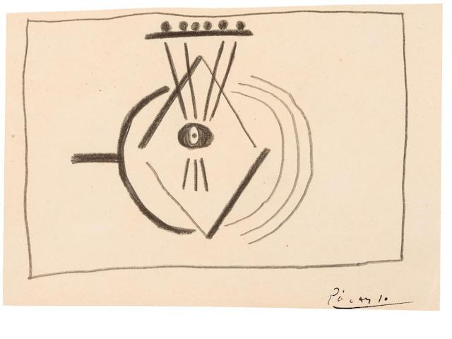 PABLO PICASSO (1881-1973) Etude (mandoline) 4 5/8 x 6 13/16in. (11.8 x 17.3cm)
