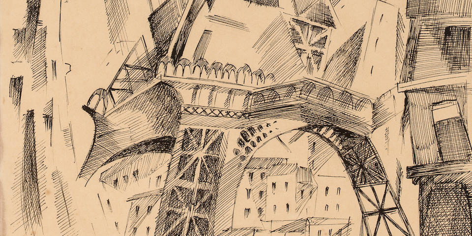 ROBERT DELAUNAY (1885-1941) La Tour Eiffel 15 11/16 x 10 3/4in. (39.8 x 27.3cm)