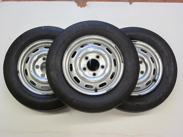 A lot of three Porsche 356 wheels, 14.5 Lemmerz,