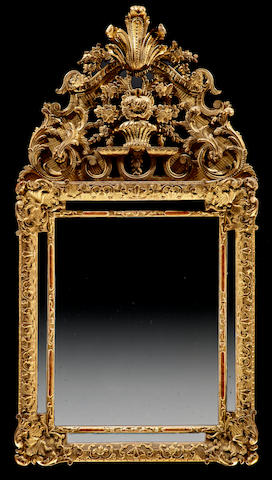 A Louis XV giltwood mirror  mid 18th century