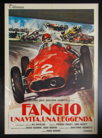 A large Fangio movie poster. c.1981,