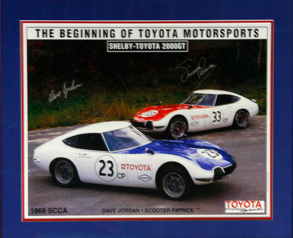 A signed commemorative Shelby-Toyota 2000GT poster,