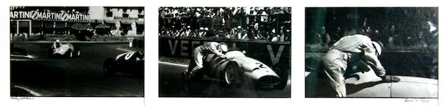 A triptic photograph of Stirling Moss at Reims, by Denise McCluggage,