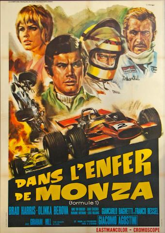 A 'Dans l'Enfer de Monza' (Formule 1) movie poster, c. 1972,
