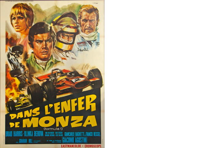 A 'Dans l'Enfer de Monza' (Formule 1) movie poster, c. 1972,
