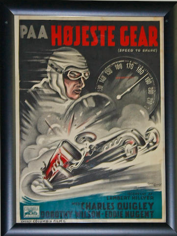 An original 'Speed to Spare' movie poster, c. 1937,