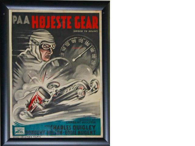 An original 'Speed to Spare' movie poster, c. 1937,