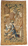 A Flemish Baroque tapestry fragment  second half 17th century