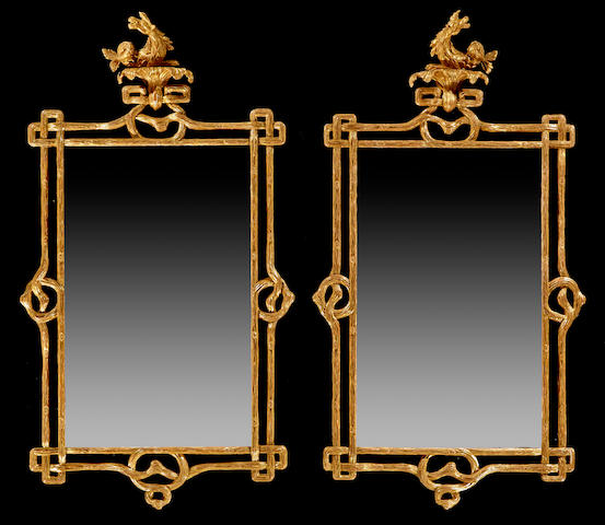 A fine pair of Regency giltwood mirrors  early 19th century