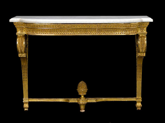 A very fine Louis XVI giltwood console d'applique stamped G. Jacob fourth quarter 18th century