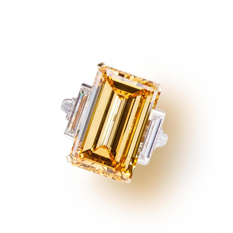 An artificially irradiated diamond and diamond ring
