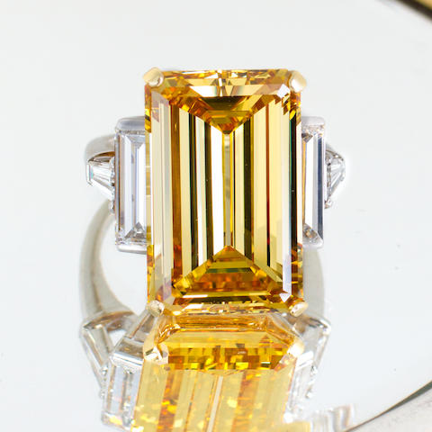 An artificially irradiated diamond and diamond ring