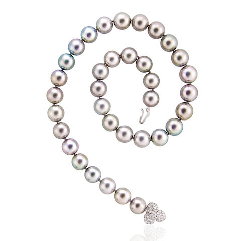 A South Sea cultured pearl and diamond necklace, Tiffany & Co., French
