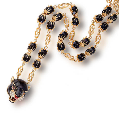 An eighteen karat gold, enamel and diamond pendant necklace