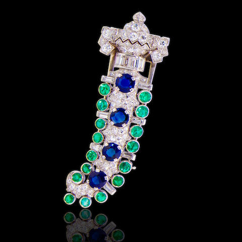 An Art deco diamond, emerald and sapphire brooch, Charlton,