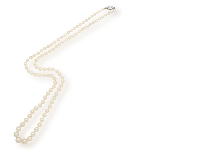 A belle époque natural pearl and diamond necklace, Tiffany & Co.,