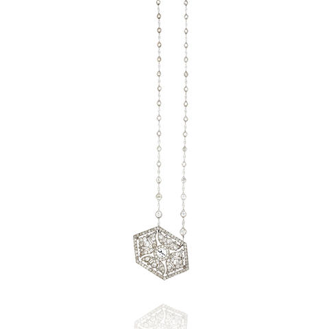 An art deco diamond pendant brooch, Cartier,