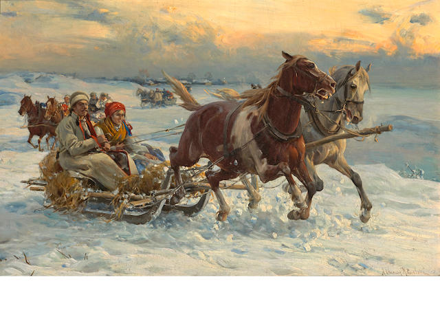 Alfred von Wierusz-Kowalski (Polish, 1849-1915) The sleigh ride 11 1/2 x 18 1/4in (29.2 x 46.3cm)
