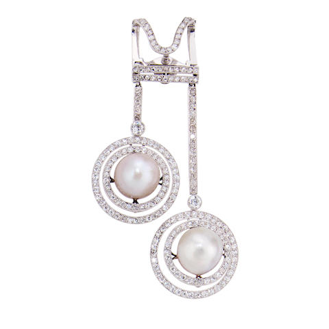 A natural pearl and diamond pendant brooch,