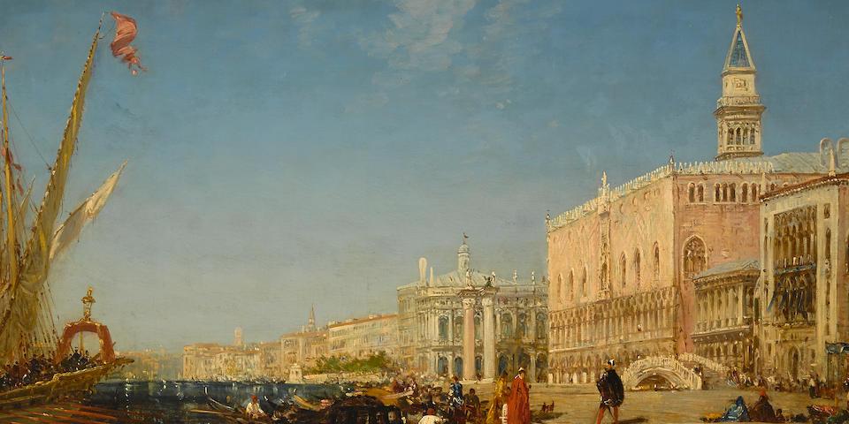 Félix François Georges Philibert Ziem (French, 1821-1911) Personnages sur le Quai des Esclavons, Venise 27 x 32 1/8in (68.5 x 82cm)