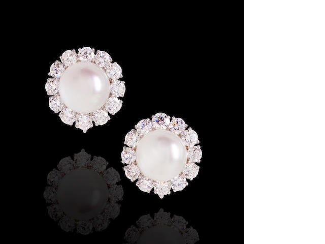 A pair of South Sea cultured pearl and diamond earclips, Graff