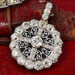 An antique diamond and enamel pendant brooch, Theodore B Starr,