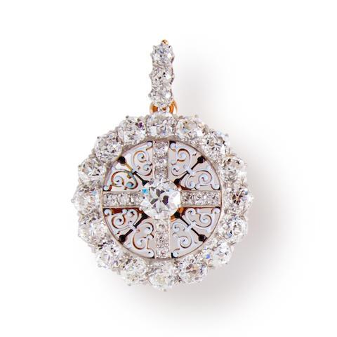 An antique diamond and enamel pendant brooch, Theodore B Starr,