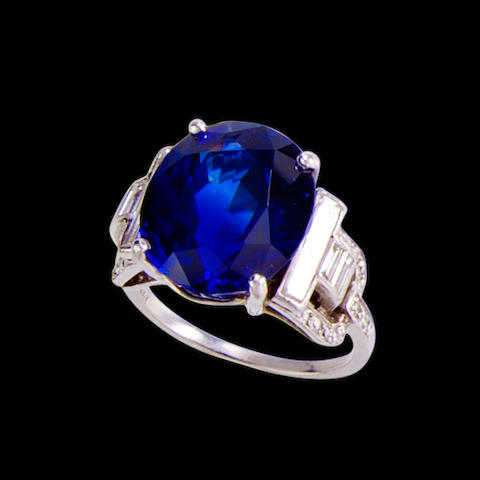 An art deco sapphire and diamond ring, Grogan,