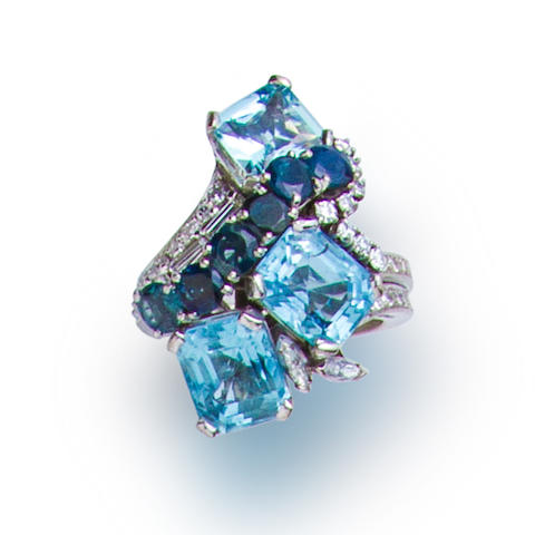 An aquamarine, sapphire and diamond ring, Raymond Yard