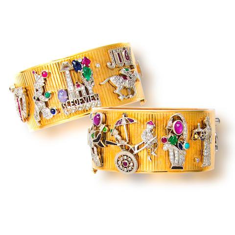 A diamond and gem-set bangle bracelet,