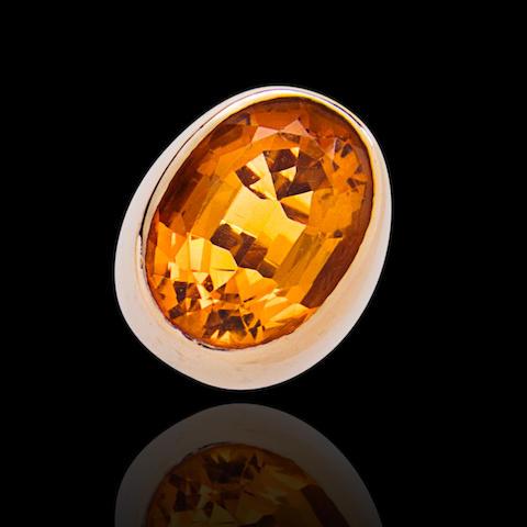 A citrine and fourteen karat gold ring, Raymond Yard,