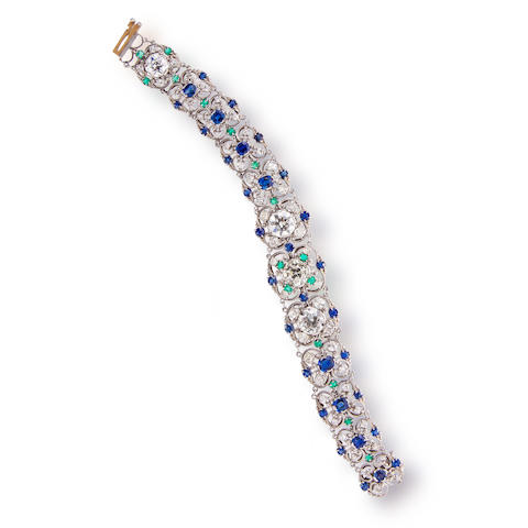 A diamond, sapphire and emerald bracelet, attributed to Louis Comfort Tiffany for Tiffany & Co.,