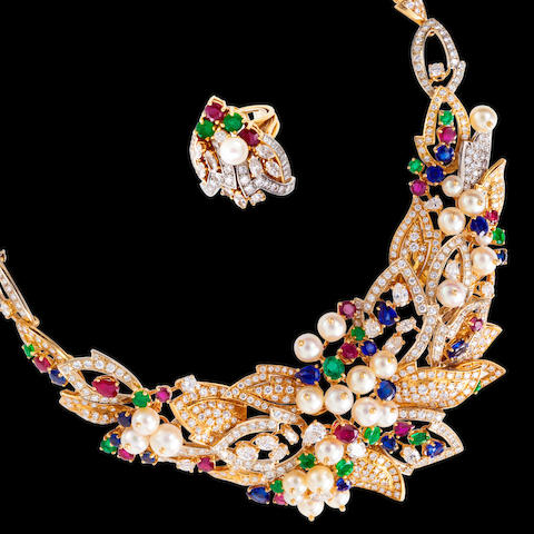 A suite of gem-set and diamond jewelry, Chaumet,
