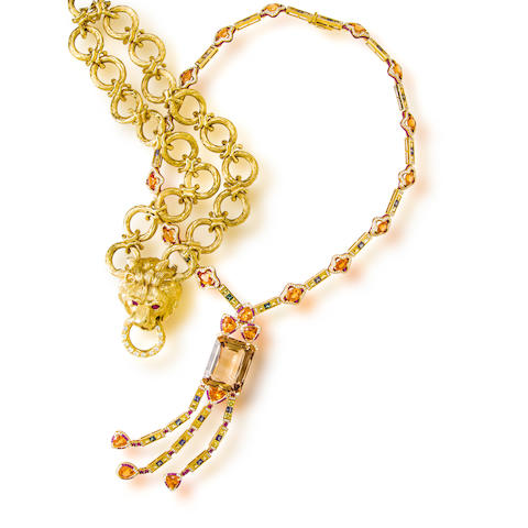 An eighteen karat gold, gem-set, and diamond pendant necklace