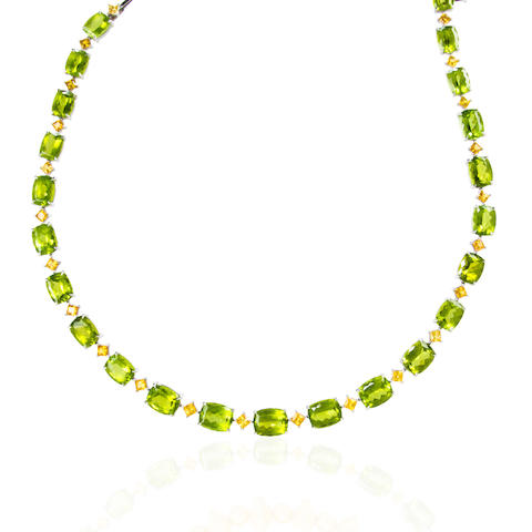 A peridot and citrine necklace