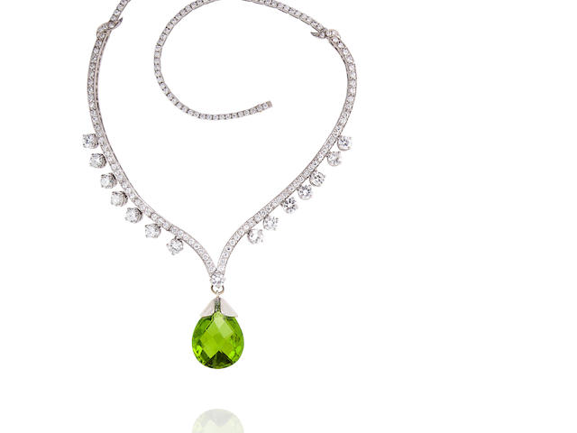 A diamond and peridot necklace